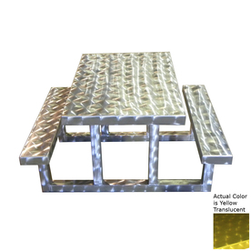 Shop Ofab Yellow Cast Aluminum Rectangle Picnic Table with Benches