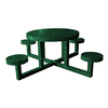 Ofab Green Tatter Round Kids Picnic Table with Benches