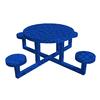 Ofab Blue Translucent Cast Aluminum Round Picnic Table