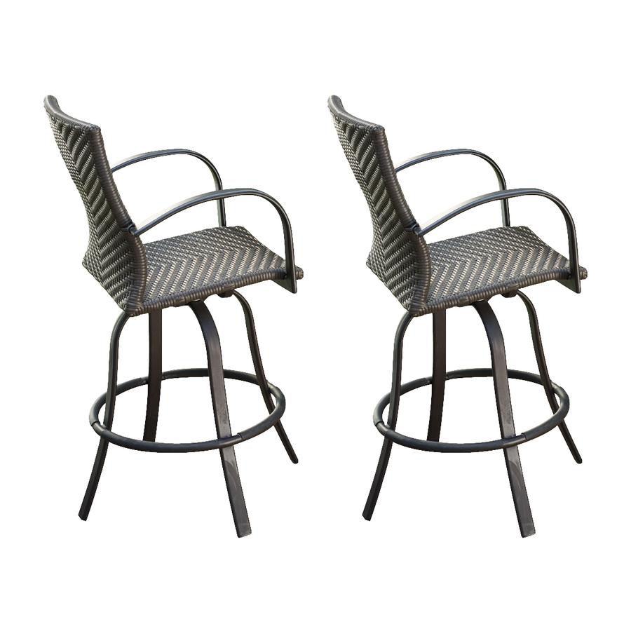 Shop Outdoor Greatroom Company Set Of 2 Naples Swivel Woven Aluminum Patio Ba