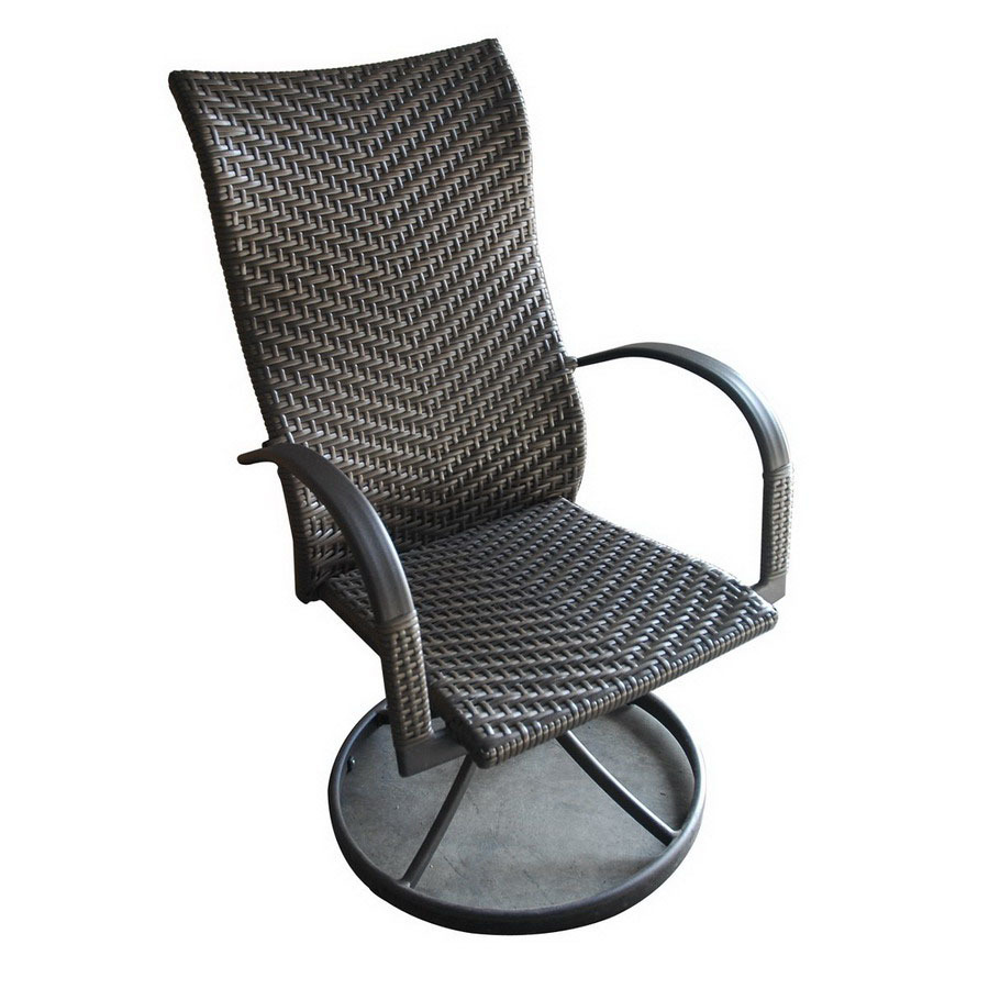 Shop outdoor greatroom company set of 2 naples woven seat for Outdoor swivel chairs
