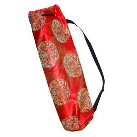 J FIT Red Printed Silk Yoga Mat Bag