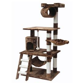 Go Pet Club 62-in Tan Faux Fur 3-Level Cat Tree