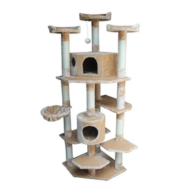 kitty mansions Denver 73-in Brown Faux Fur Cat Tree