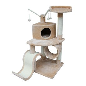 kitty mansions Memphis 48-in Brown Faux Fur Cat Tree