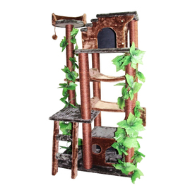 kitty mansions Mini Amazon 50-in Brown Faux Fur Cat Tree