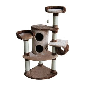 kitty mansions Nashville 45-in Brown Faux Fur Cat Tree