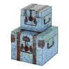Woodland Imports Set of 2 Square Galvanized Metal Boxes