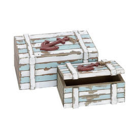 Woodland Imports Set of 2 Rectangular Wood Nautical Maritime Decor Boxes