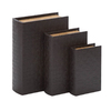 UMA Enterprises Set of 3 Rectangular Wood and Leather Library Storage Book Boxes
