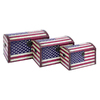 UMA Enterprises Set of 3 Rectangular American Flag Storage Trunk Boxes