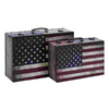 UMA Enterprises Set of 2 Rectangular American Flag Luggage Boxes