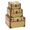 Woodland Imports Set of 3 Rectangular Old Look Burlap Travel Trinket Boxes