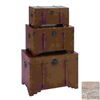 UMA Enterprises Set of 3 Brown Rectangular Old Look Steamer Trunk Boxes