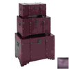 UMA Enterprises Set of 3 Purple Rectangular Old Look Steamer Trunk Boxes