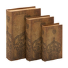 UMA Enterprises Set of 3 Rectangular Wood Library Storage Book Boxes