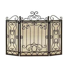 shop woodland imports 48 in black metal 3 panel scroll