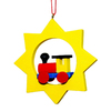 Alexander Taron Multicolor Star with Train Christmas Ornament