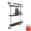 Nameeks Grip 3-Tier Chrome/Orange Plastic Bathroom Shelf