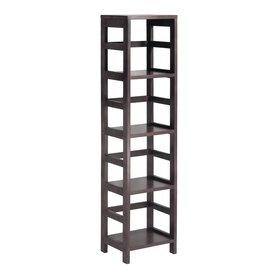 Winsome Wood Leo 13.5-in W x 55-in H x 11.25-in D Dark Espresso Composite Freestanding Linen Cabinet