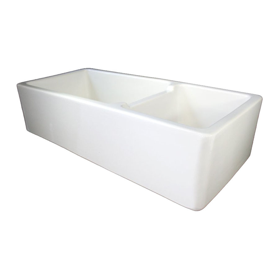 Double Apron Sink : Shop Alfi Double-Basin Apron Front/Farmhouse Fireclay Kitchen Sink at ...