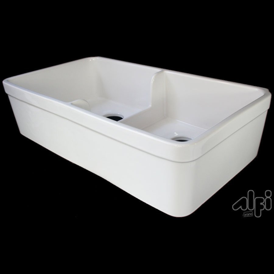 Shop alfi double basin apron front farmhouse fireclay kitchen sink at - Kitchen sinks apron front ...