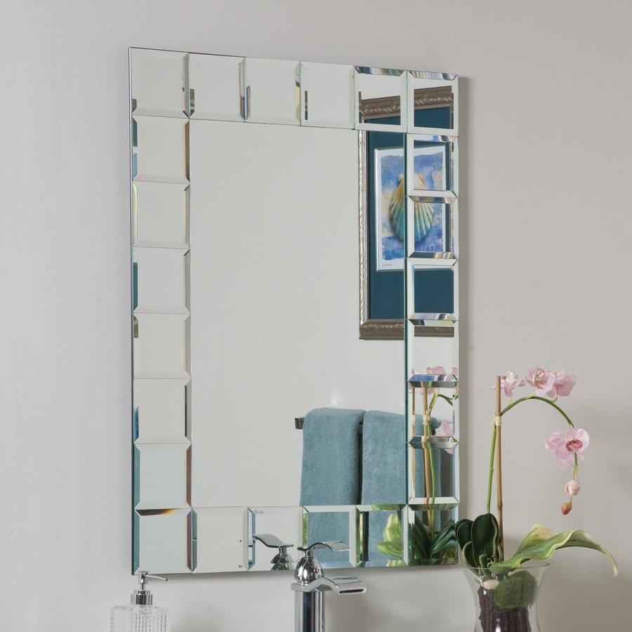 rectangular frameless bathroom mirror with beveled edges at