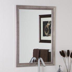 Decor Wonderland 23.6-in W x 31.5-in H Silvertone Distressed Rectangular Bathroom Mirror