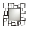 Southern Enterprises 32.25-in x 32-in Textured Espresso Square Framed Mirror