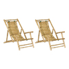 Bamboo 54 Set of 2 Natural Bamboo Folding Beach Chairs