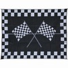 Patio Mats Racing Rectangular Black Sports Indoor/Outdoor Area Rug (Common: 9-ft x 12-ft; Actual: 9-ft x 12-ft)