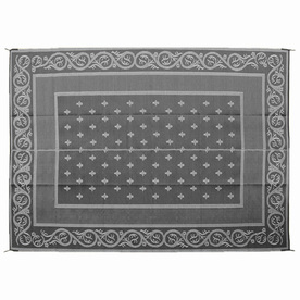 Patio Mats Royal 12-ft x 9-ft Rectangular Black Floral Outdoor Area Rug