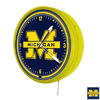 Sports Fan Products Michigan Wolverines Metal Encased Neon Clock