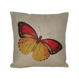 Cheung's 18-in W x 18-in L Yellow/Red Square Decorative Pillow