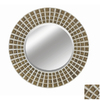 Imagination 42-in x 42-in Rustic Silver Gold Round Framed Mirror