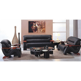 TOSH Furniture 3-Piece Black Living Room Set