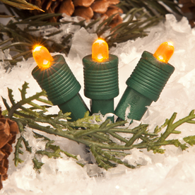 TreeKeeper 50-Count Constant Orange LED Plug-In Mini Christmas String Lights