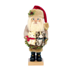 Alexander Taron Wood Santa with Kittens Nutcracker Ornament