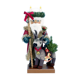 Alexander Taron Wood Santa and Reindeer Nutcracker Ornament