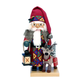 Alexander Taron Wood Santa with Reindeer Nutcraker Ornament