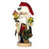 Alexander Taron Wood Santa with Bird Nutcraker Ornament