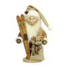 Alexander Taron Wood Santa with Skis Natural Nutcraker Ornament