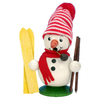 Alexander Taron Wood Mini Snowman Skier Smoker Ornament