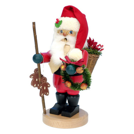 Alexander Taron Wood Santa with Christmas Wreath Ornament