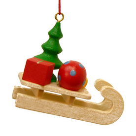 Alexander Taron Wood Sled with Presents Ornament