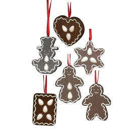 Alexander Taron 6-Pack Wood Assorted Gingerbread Cookies Ornaments