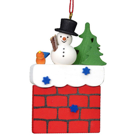 Alexander Taron Wood Chimney with Snowman Ornament