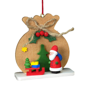 Alexander Taron Wood Santa Bag Ornament