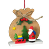 Alexander Taron Wood Brown Sack with Santa Ornament