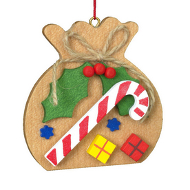 Alexander Taron Wood Brown Sack with Candy Cane and Mistletoe Ornament